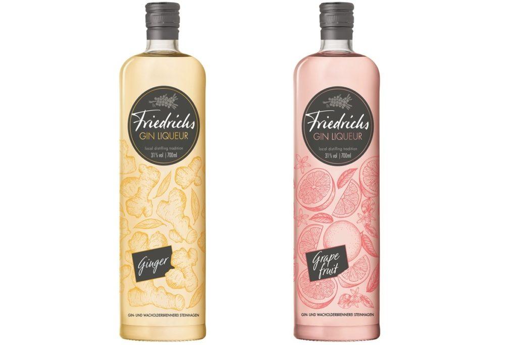Zwei Glasflaschen mit Friedrichs Gin Liqueur