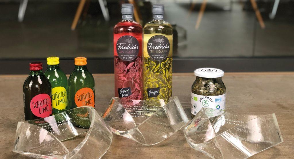 """Schüttellimo, KollektivTee und Friedrichs Gin Liqueure mit der Auszeichnung """"Produktinnovation in Glas"""" 2020"""