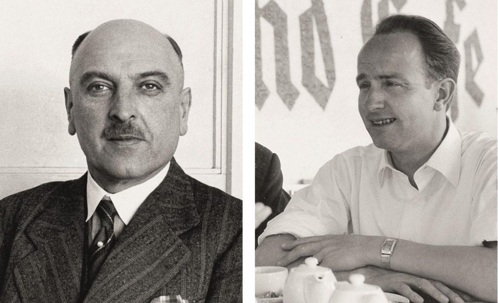 In jeweils einer Schwarz-Weiss-Aufnahme wird Ludwig Hahn und sein Sohn Herbert Hahn gezeigt.