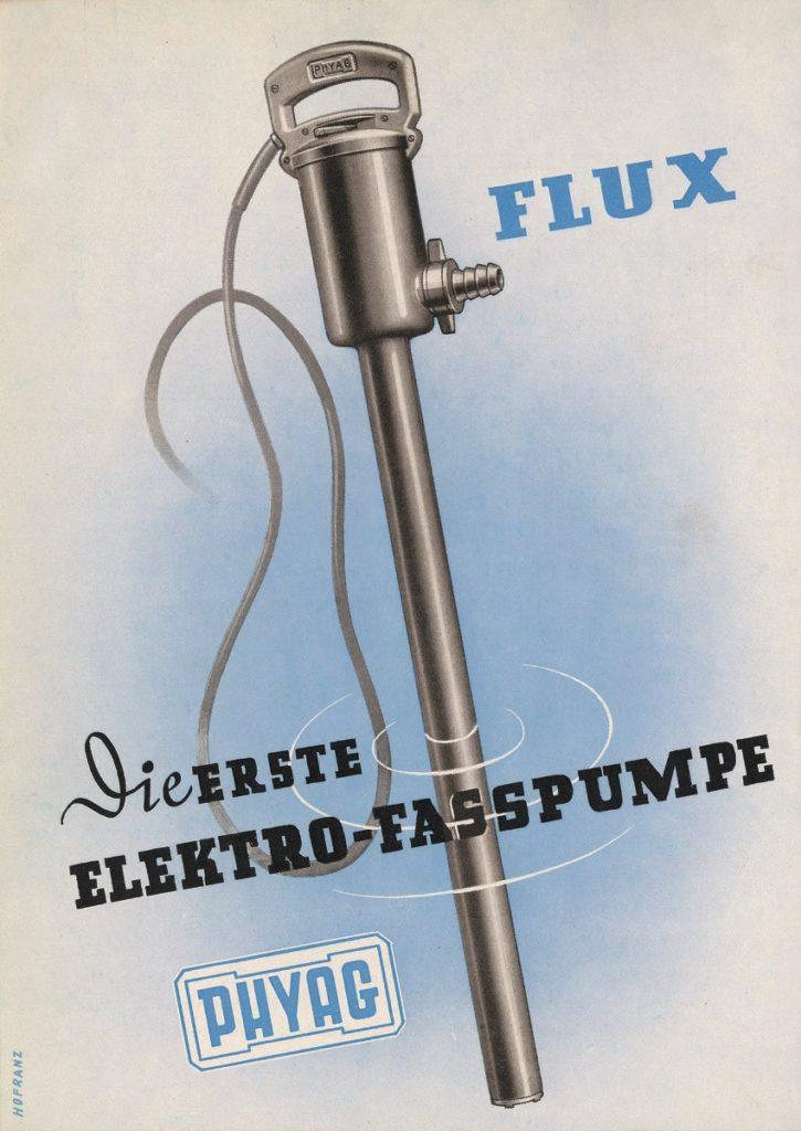Das Bild zeigt die erste elektrische Fasspumpe, die auf den Namen FLUX getauft wurde.