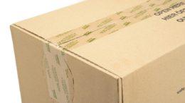 Mit monta biopack zugeklebter Karton