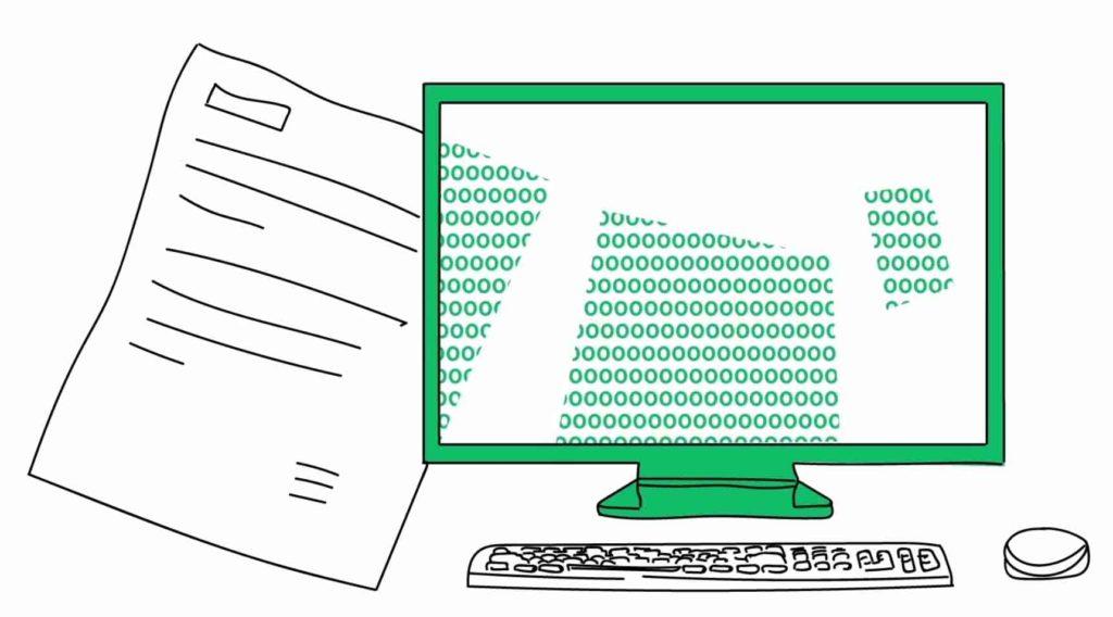 Die Illustration zeigt einen grün umrandeten Bildschirm mit Tastur und Maus sowie einer Formularvorlage.