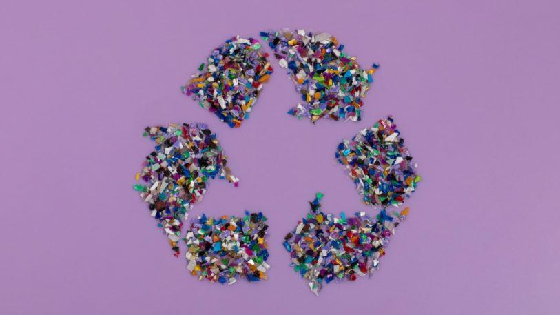 Kunststoffflakes aus Post-Consumer-Recyclaten auf einem lila Hintergrund bilden ein Recyclingsymbol
