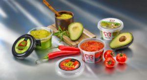 SuperLock Becher aus PP von Superfos mit Avocados und Chilis