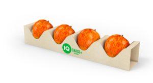 Verpackung aus Graspapier von Mondi Uncoated Fine Paper für vier Äpfel