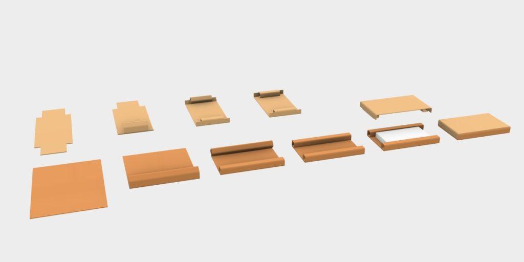 Schematische Darstellung des Faltvorgangs von Kartonzuschnitt mit integriertem Produktschutz