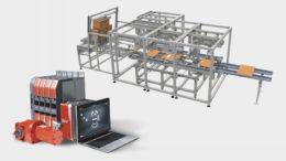 Bildmontage aus einem Automatisierungsbaukasten mit der Anlagenzeichung eines Kartonfalters