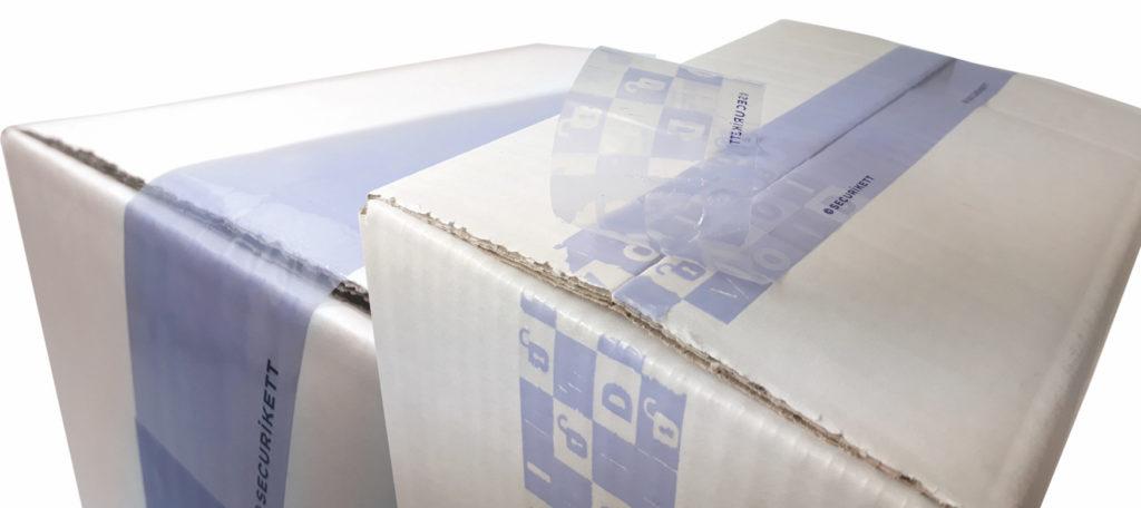 VOID-Tapes stellen sicher, dass ein Versandkarton nicht entlang des Transportwegs geöffnet wurde, um den originalen Inhalt gegen gefälschte Produkte auszutauschen. Bilder: Securikett