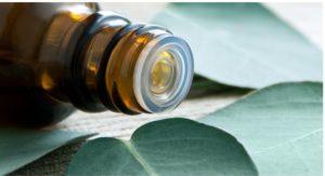 braune Arzneiflasche auf Blättern