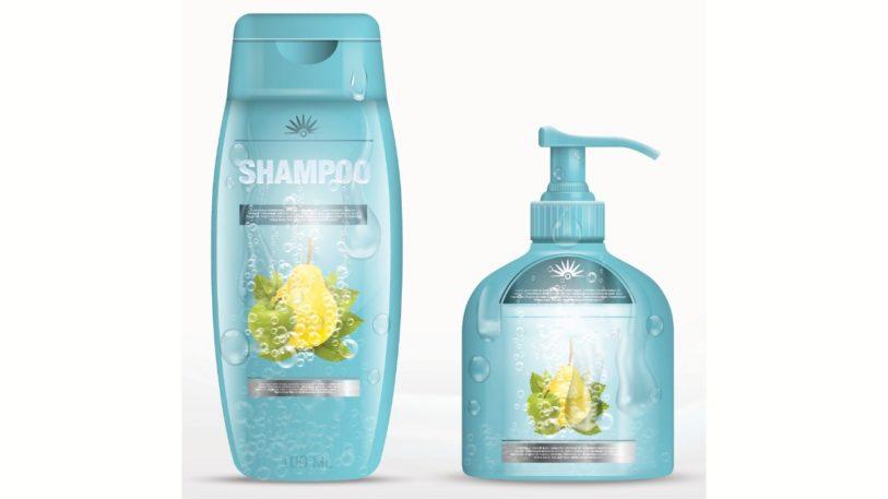 Shampooflasche und Seifenspender mit transparenten Etiketten mit Haftkleber von Herma