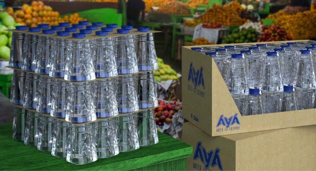 Flaschen der Marke Aya aus recyceltem PET