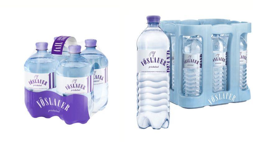 Vöslauer Mineralwasser im Mehrwegkasten und PET-Gebinde