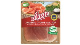 """Neues Aoste-Produkt in nachhaltiger Verpackung: der """"Aoste Jambon D'Ardenne""""."""
