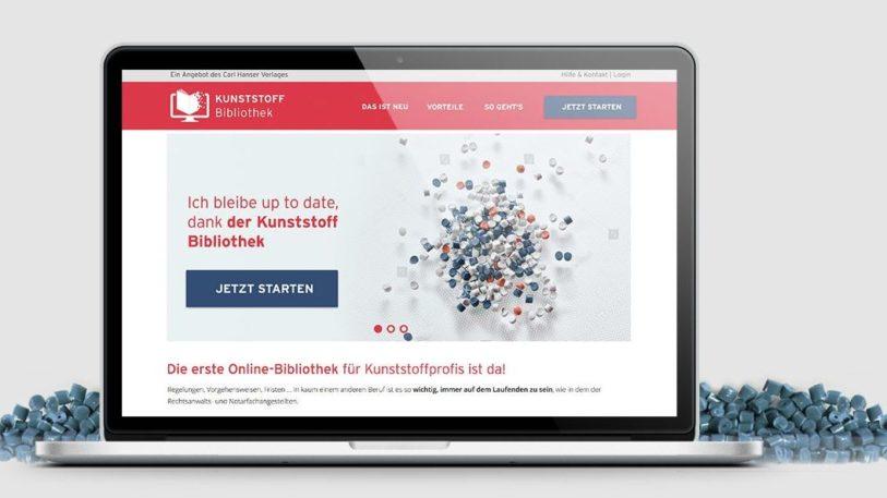 Laptop Bildschirm zeigt Startseite der Kunststoff-Bibliothek