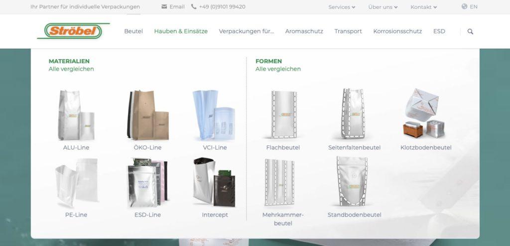 Website mit neuem Verpackungs-Tool zur Auswahl verschiedener Verpackungslösungen