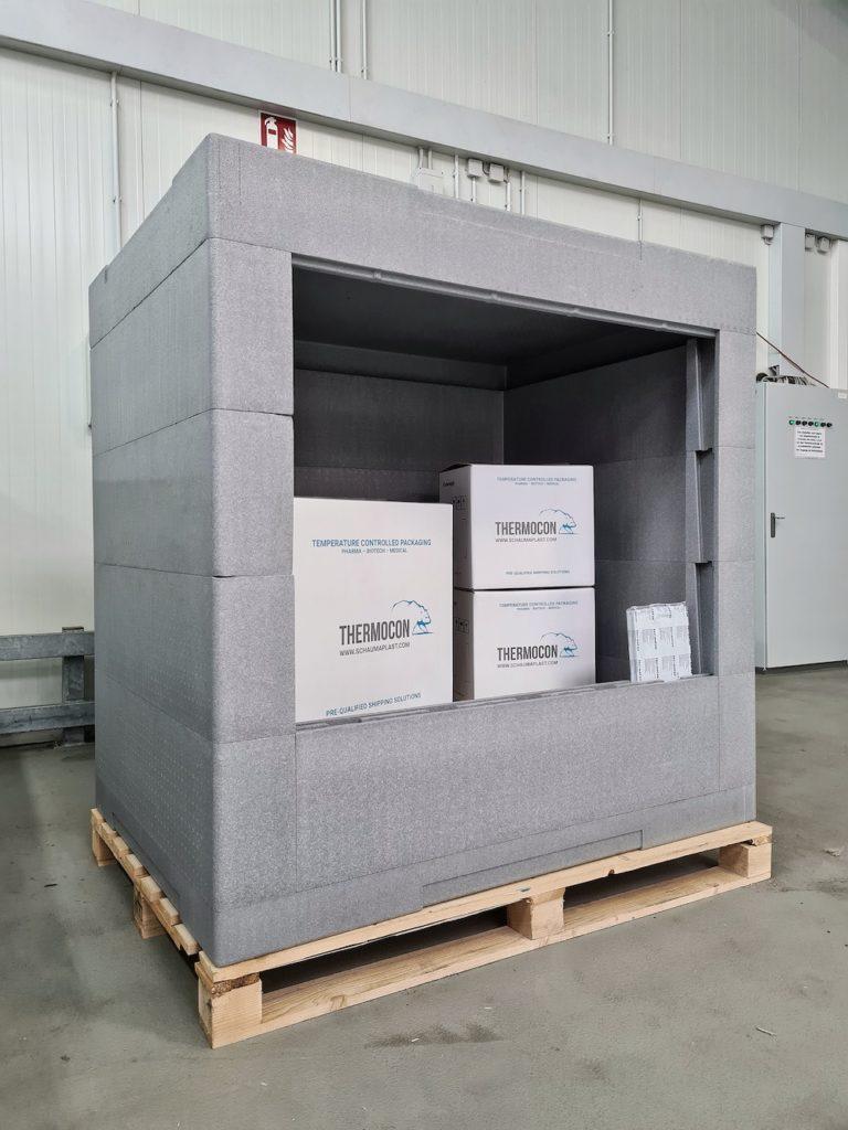 Isolierbehälter von Schaumaplast können eine komplette Europalette aufnehmen.