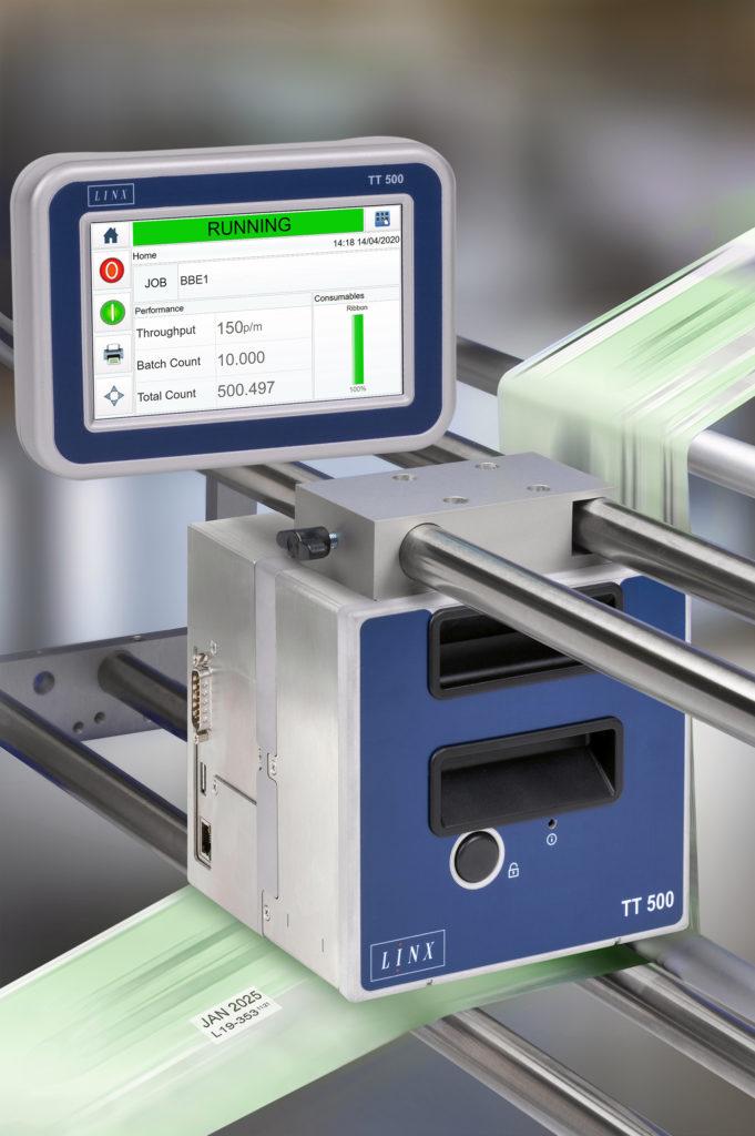 Thermotransferdirektdrucker Linx TT 500 an der Produktionslinie