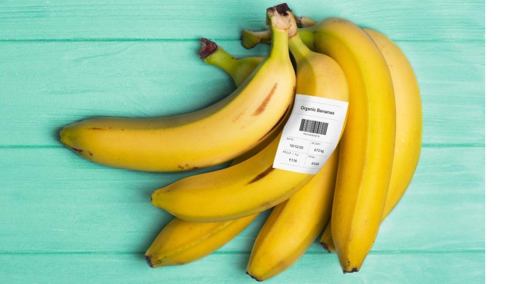 Bananen mit Thermopapier Etiketten