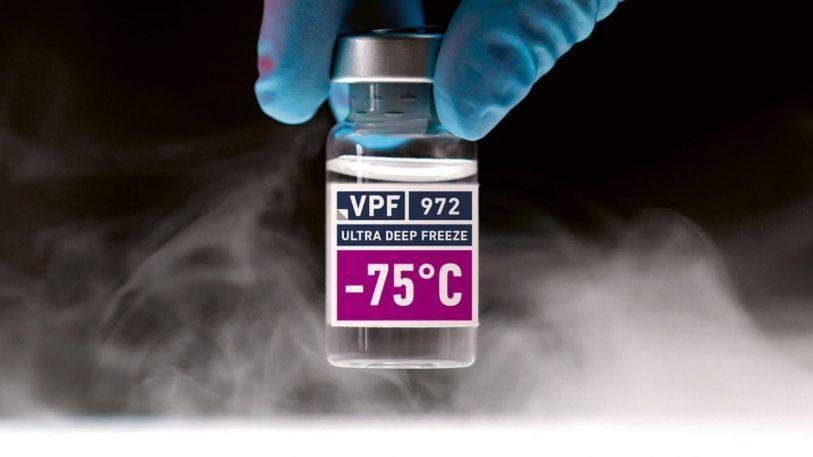 Glass-Vial Etikett mit Ultra Deep Freeze Haftklebstoff