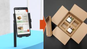 Das Bild zeigt eine App mit der ein Unternehmen die passende Versandbox bestimmen kann