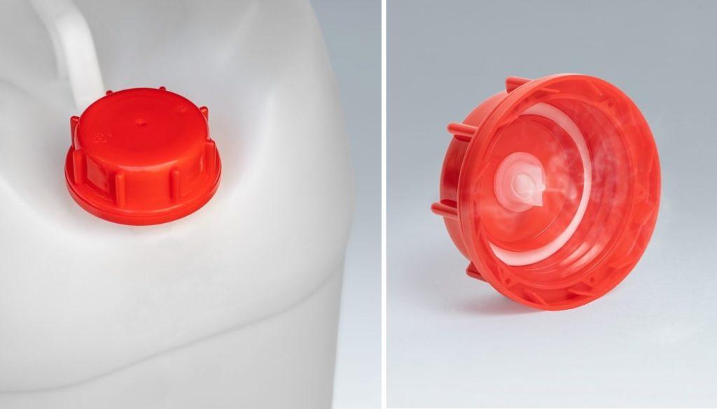 FLUXX Verschlusssysteme für eine Vielzahl an Behältnissen (li.). Anwendungsfertiger FLUXX Verschluss mit Entgasungsfunktion (re.).