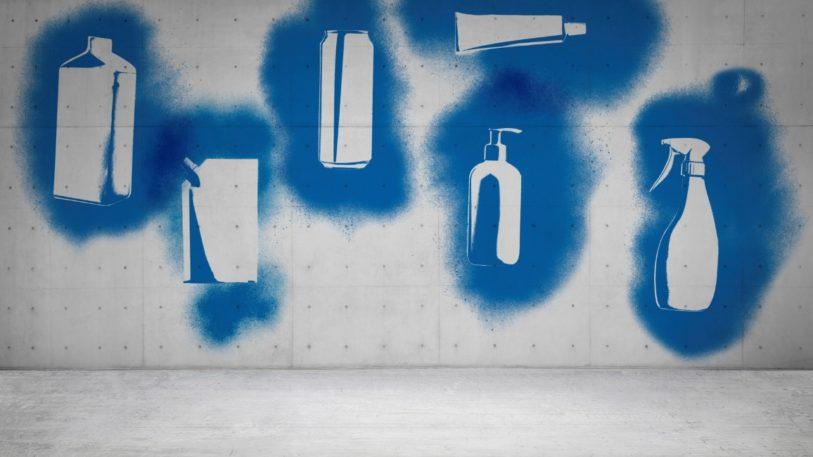 Silhouetten von verschiedenen Verpackungen aufgesprüht auf eine Wand symbolisieren Dienstleistung circulate by Reclay