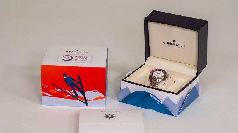 Luxusuhr der Nordischen Skiweltmeisterschaften von Junghans mit Verpackung von Stora Enso