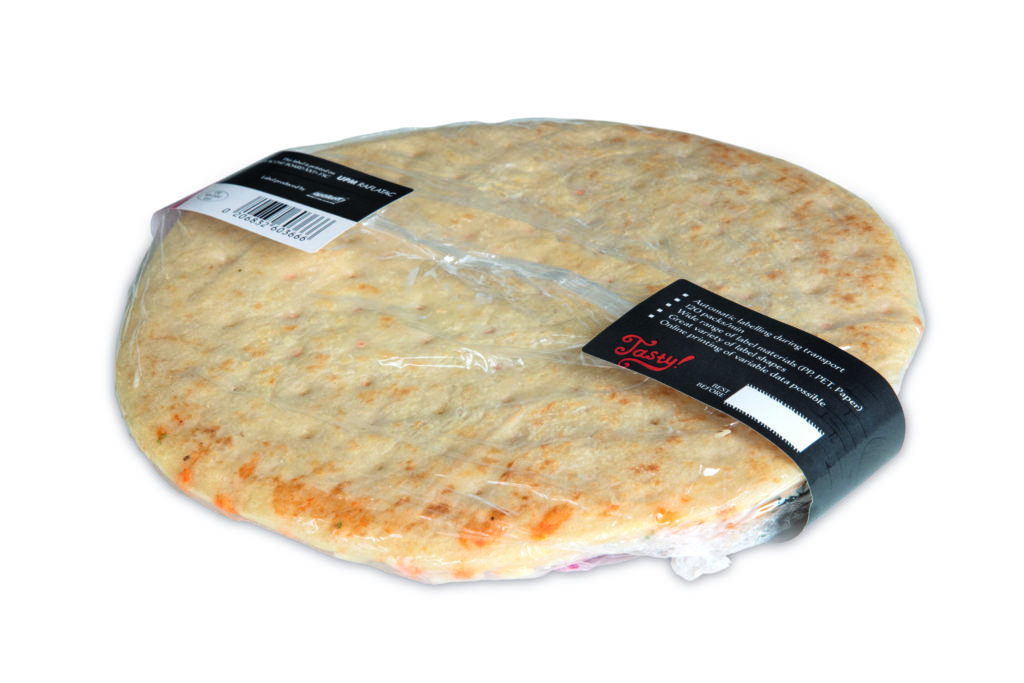 Full Wrap-Etikettierlösung Pizza Rückseite