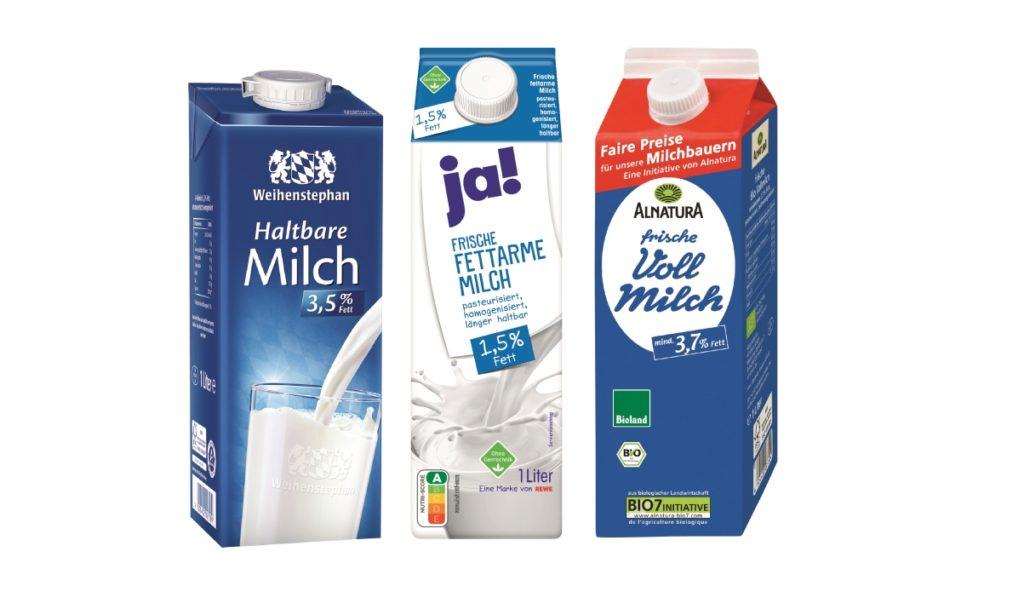 Weiß und Blau: Milch hält bis heute an den klassischen Farbcodes fest.