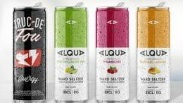 In der schlanken 33cl-Getränkedose erhältlich: der Energydrink Truc de Fou sowie alle drei Geschmacksrichtungen der Hard-Seltzer-Marke Alqua
