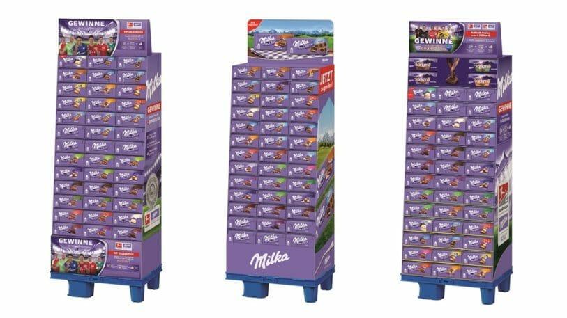 Modulares Display-Konzept für Milka Tafel Schokolade von DS Smith .
