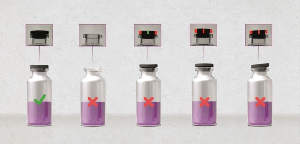 Vials mit fehlenden oder falsch positionierten (zu tief, zu hoch, schräg) Gummistopfen werden erkannt und ausgeschleust.