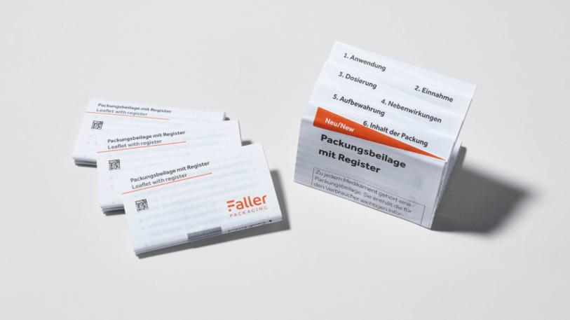 Faller Packungsbeilage mit Register