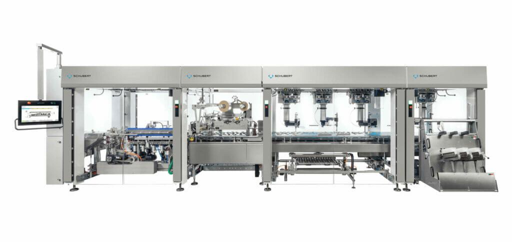 Auf kleinem Raum vereint die Schlauchbeutelmaschine Entstapler, Pick-and-Place-Roboter, Qualitätskontrolle und das Flowmodul.