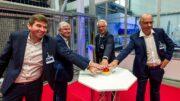 Die neue Anlage wurde von Tobias Weber, Günther Weber, Dr. Stefan Rudolph, Bernd Jaehner (v.l.) in Betrieb genommen.