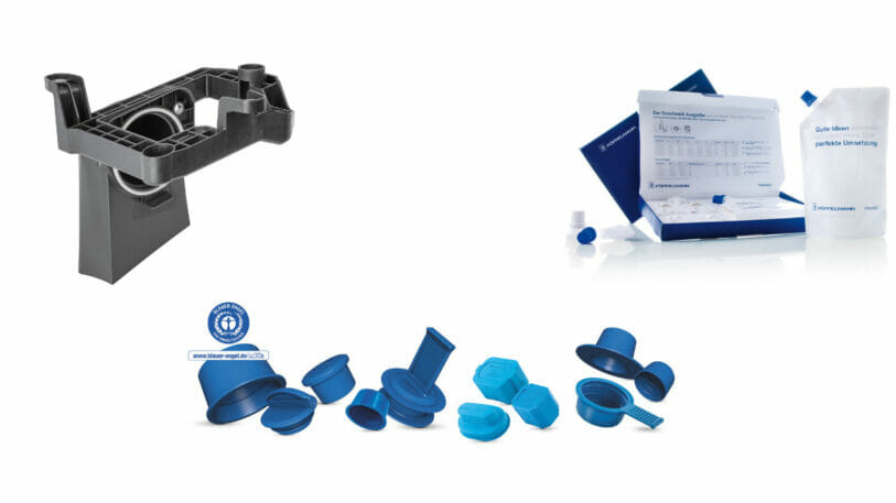 Ein Soundgenerator, diverse Schutzkappen sowie Einstoff-Verpackungen der Firma Pöppelmann